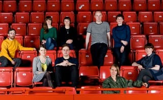 [Back row] Catriona Duffy and Lucy McEachan of Panel, who came up with the idea for Scotland Can Make It!; [Third row] Tommy Perman, part of the group that is launching a smartphone app; Neil McGuire and Marianne Anderson, who have made the Golden Tenement keyring. [Second row] Angharad McLaren and Emlyn Firth, who have designed supporters' scarves; Katy West has made Art Deco jelly moulds. [Front row] Beca Lipscombe is behind a set of lambswool travel rugs