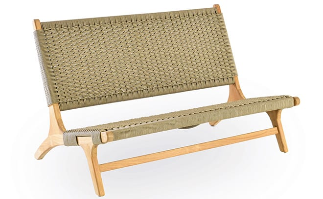 With a teak frame and a seat fashioned from all-weather rope, the sleek  Pimlico bench from Indian Ocean is designed to be kept outdoors all year  round. - Pimlico Bench From Indian Ocean Homes & Interiors Scotland