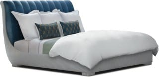 Robert Couturier bed in fabric from Dedar