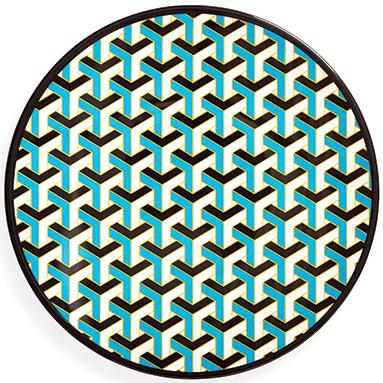 Mykonos melamine dinner plate in blue, £12, Jonathan Adler