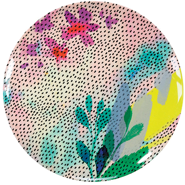 Fluorescent Floral Melamine Plate, £5.49 per pack, Talking Tables