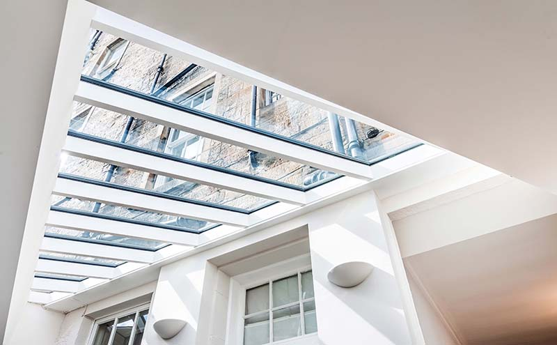 The roof glazing system, which was key to the success of the build, was supplied by Howells Patent Glazing. It is double-glazed and has a self-cleaning coating