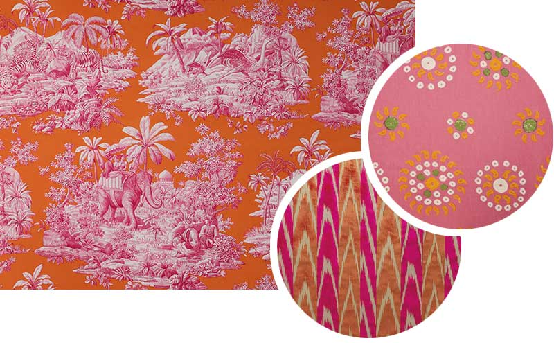 Bengale in Paprika, £82 per m, Manuel Canovas; Coup de Foudre in Cherry, £337 per m, Dedar; Marrakech Collection, £330 per 1m roll, Kathryn M. Ireland
