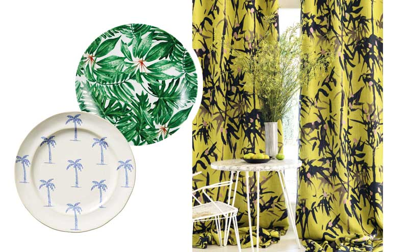 Tropical Plates, £36.95 for a set of 4, MiaFleur; Islander Dessert Plate in Palms, £12, Anthropologie; Giardino LI 751 22, £229 per m, Élitis