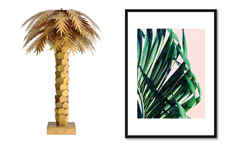 Palm Table Light, £365, Abode Living; Palm V2 Framed Print, £47, Red Candy