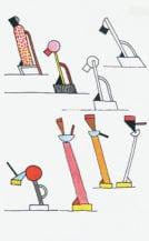 Drawings for the Tahiti and Cavalieri lamps, 1981.
