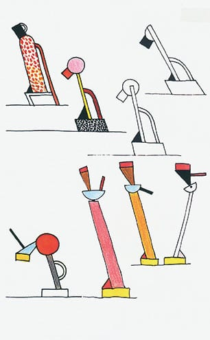 Drawings for the Tahiti and Cavalieri lamps, 1981.