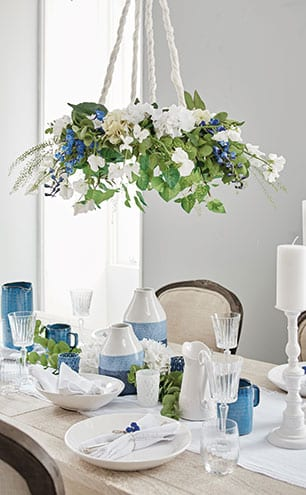 Hydrangea, tall white, £14; hydrangea tall green, £14; simple eucalyptus, £6; aspen leaf, £7; all Brissi.