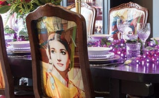this second-hand dining chair has been upholstered in one of his Savoy works