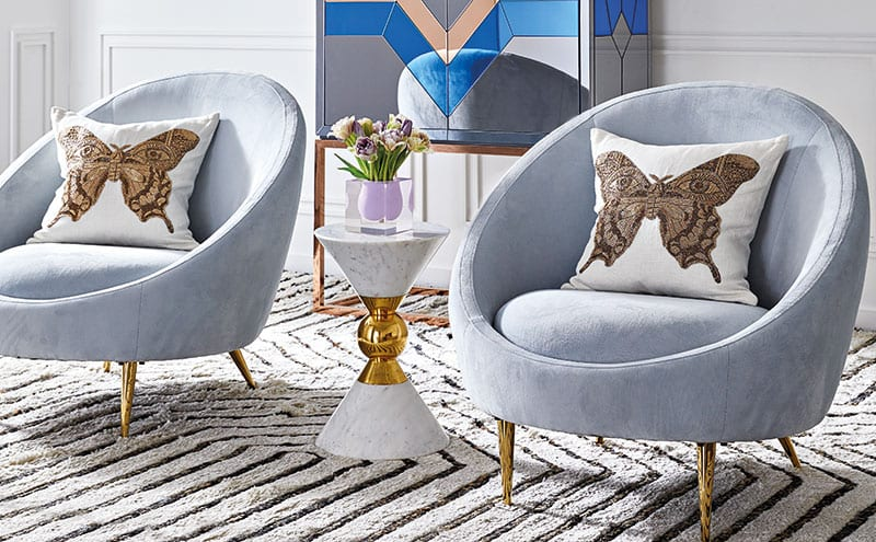 Ether chairs in ice blue velvet £1,750 and Nouvelle bar £2,995, Jonathan Adler.