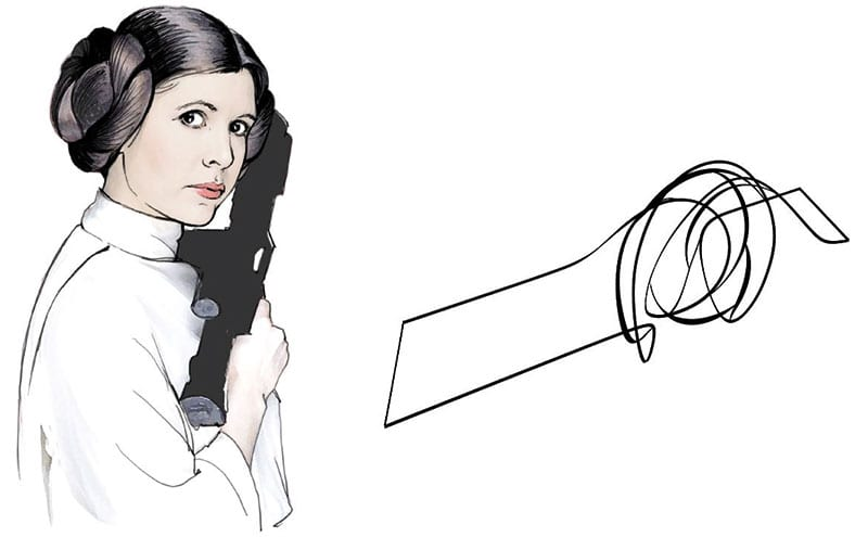 Inspiration sketches showing Princess Leia's hair and how it inspired the curves of the table