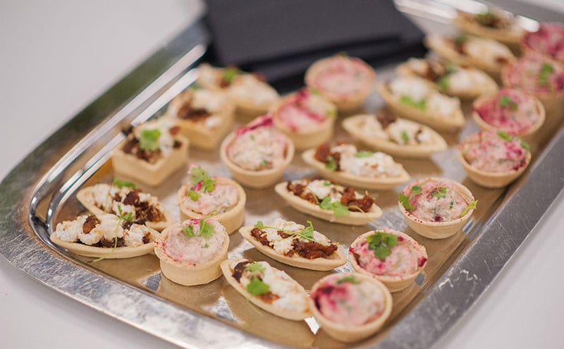 Delicious canapés were supplied by Glasgow fish restaurant A'Challtainn