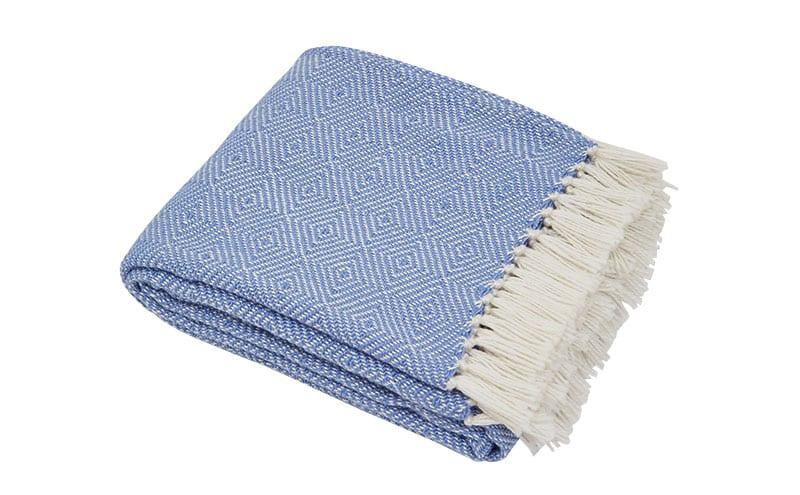 Diamond Cobalt Blanket, £45, Weaver Green