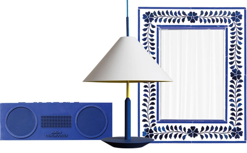 Bluetooth Wireless Speaker, £95, Lexon; Little Eliah Flying table lamp, £660, Maison Dada; Rectangular mirror with inlaid blue glass, £80, Raj Tent Club