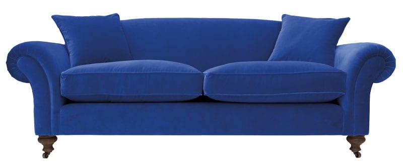 Matlock sofa in Designers Guild Marine Blue velvet, from £1,371, Sofas & Stuff