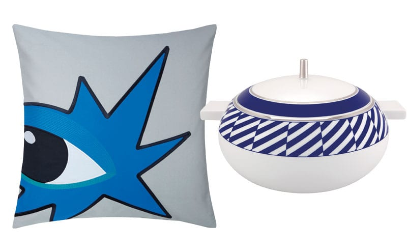 Eyes Cushion Cover in Blue, £45, Kenzo; Tureen from the Harvard Collection, from £211, Vista Alegre
