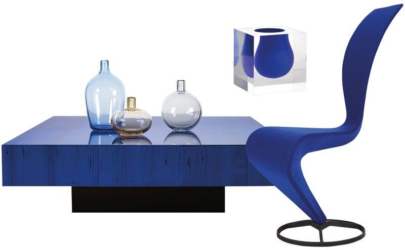 Modeste Coffee Table, from £19,305, Barn in the City; Bel Air mini scoop vase in cobalt, £98, Jonathan Adler; S Chair, £1,000, Tom Dixon