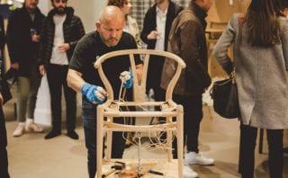 Master weaver Benny Larsen was hard at work on the Wishbone chair seat