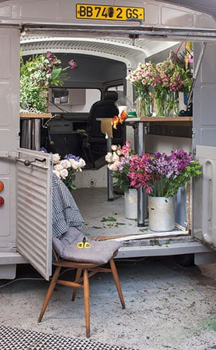 Ruby first spotted a vintage French van like this on a trip to Paris and knew it would be ideal when she was looking to make her business more mobile.