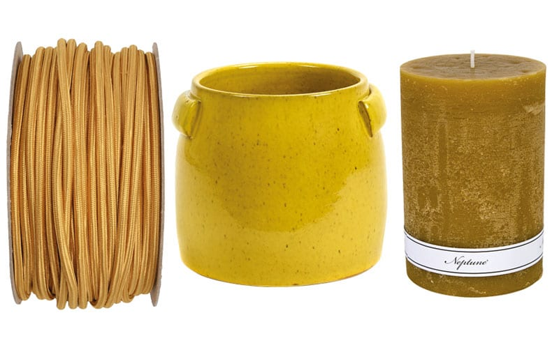 Gold round fabric cable, £4.80 per m, Urban Cottage Industries; Tabor yellow small pot, £36, Serax; Blyton 10x15cm candle, £11, Neptune