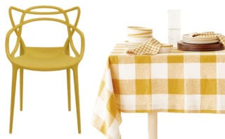 Masters chair, £159, Kartell; Checked faded linen tablecloth, £79.99, Zara Home
