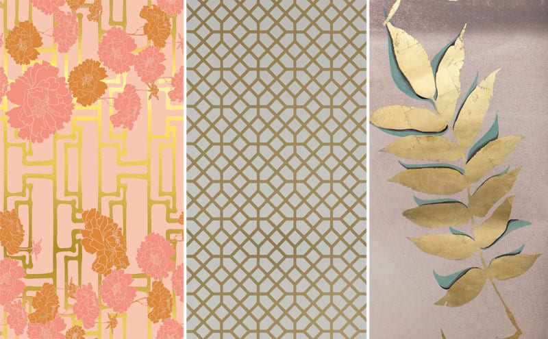 Kyoto in Nude, from around £230 per m, Rouge Absolu; Pisani Copper wallpaper, £82 per roll, Designers Guild; Gold Leaf Leaves, £185 per 3m panel, Louise Body