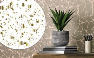 Drip wallpaper in white and gold, £300 per roll, Jonathan Adler; Glaze, £65 per roll, 1838 Wallcoverings;