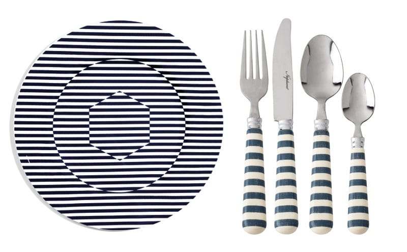 Superstripe 34cm Coupe Charger, £100, Richard Brendon; Polperro 24-piece cutlery set, £68, Neptune