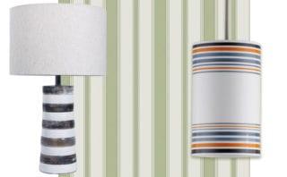 Jura table lamp, £166.80, dar lighting group; Marquee Stripes, Cambridge Stripe 110/8038, £65 per 10m roll, Cole & Son; May pendant, size 2 in orange £275, Original BTC