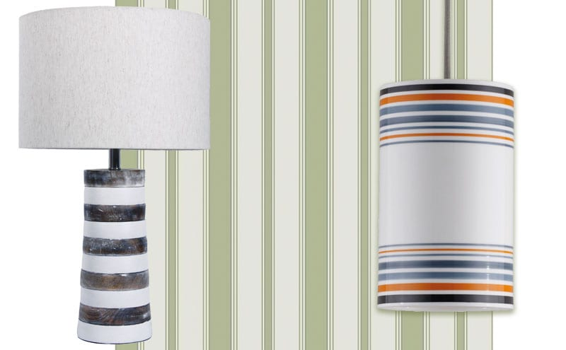 Jura table lamp, £166.80, dar lighting group; Marquee Stripes, Cambridge Stripe 110/8038, £65 per 10m roll, Cole & Son; May pendant, size 2 in orange £275, Original BTC