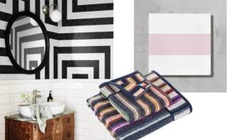 Osterbro wallpaper 633-08, £386 per 360cm x 270cm panel, Sandberg Wallpaper; Pink Oscar tile, £5.60 per tile, Bert & May; Teseo Towel, 100, £62 for a 2-piece set, Missoni Home