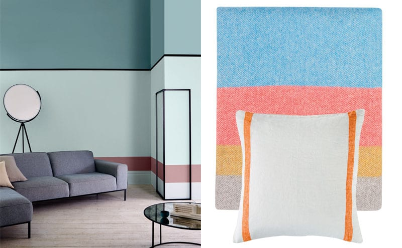 Duck egg, Matt Emulsion, from £14; Rebel, Feature wall matt, from £13; Attingham Blue, Feature Wall Matt, £13; May Queen, Period Collection, from £18; Crown Paints; Merino stripe throw, £129, Heal's; Selvedge Stripe cushion cover in orange, £45, The Linen Works for The Conran Shop