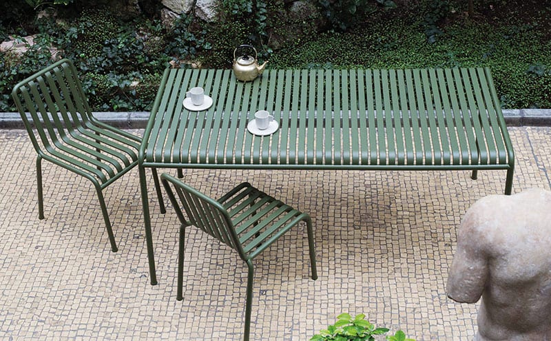 Palissade Chair in Olive, £189; Palissade Table in Olive L160cm, £585; Hay