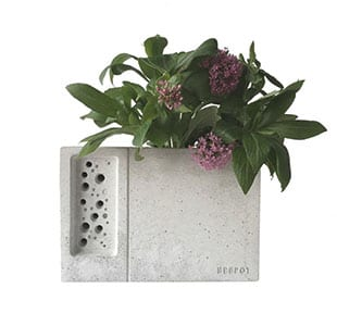 Concrete Planter & Bee Hotel, £45, Green & Blue