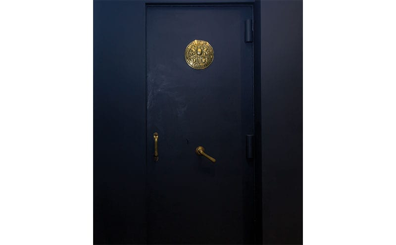 When the law firm moved out, they left behind an old walk-in safe in the basement. Now painted, it has become an intriguing feature of the property.