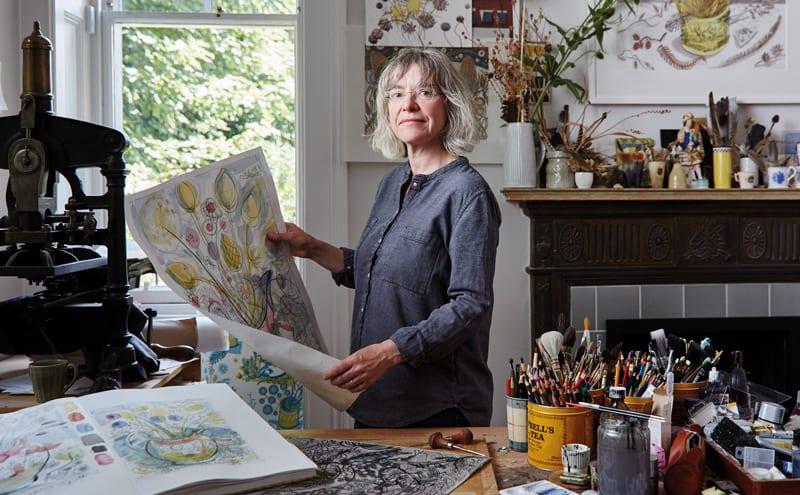 Angie Lewin of St Jude's in her studio in Edinburgh