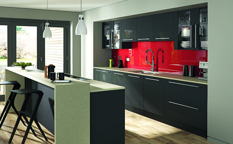 kitchen with red splashback