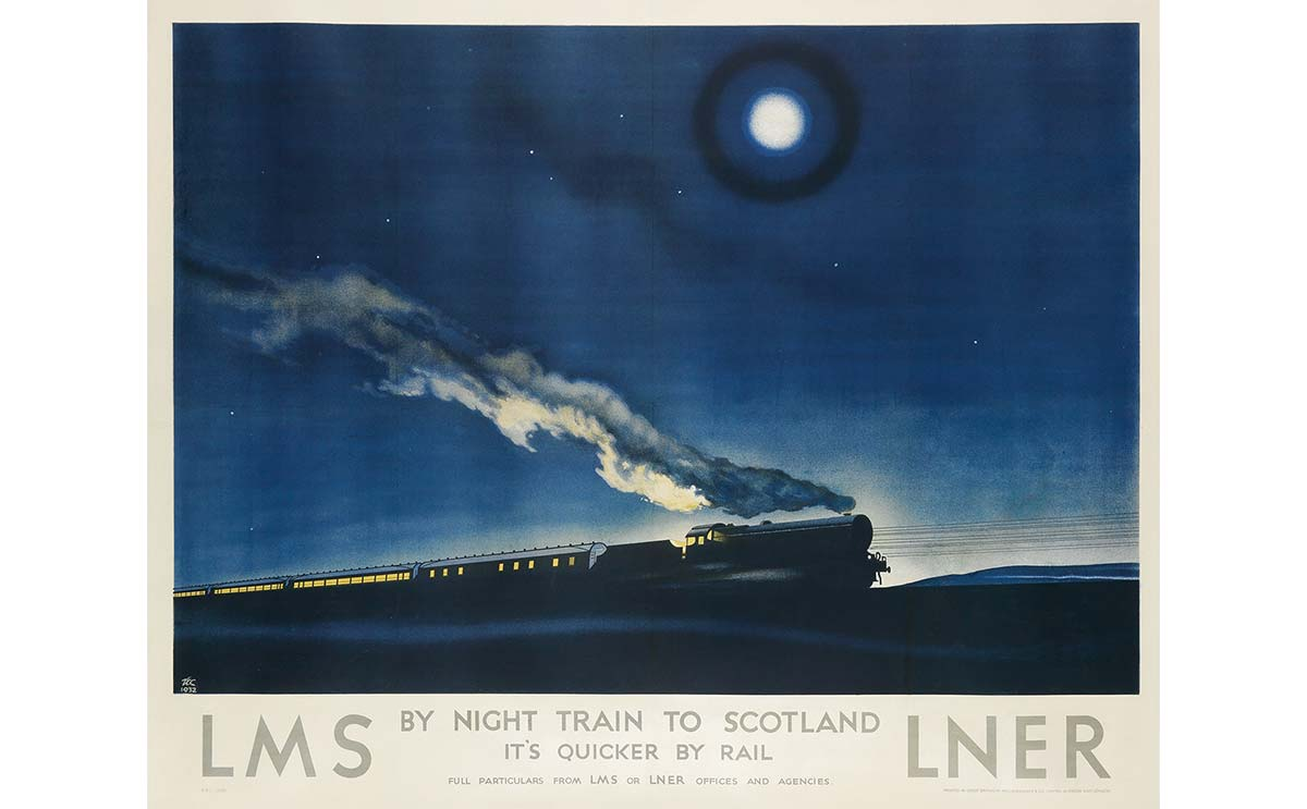 Philip Zec's rare 'By night train to Scotland' poster to be sold at Swann Auction Galleries