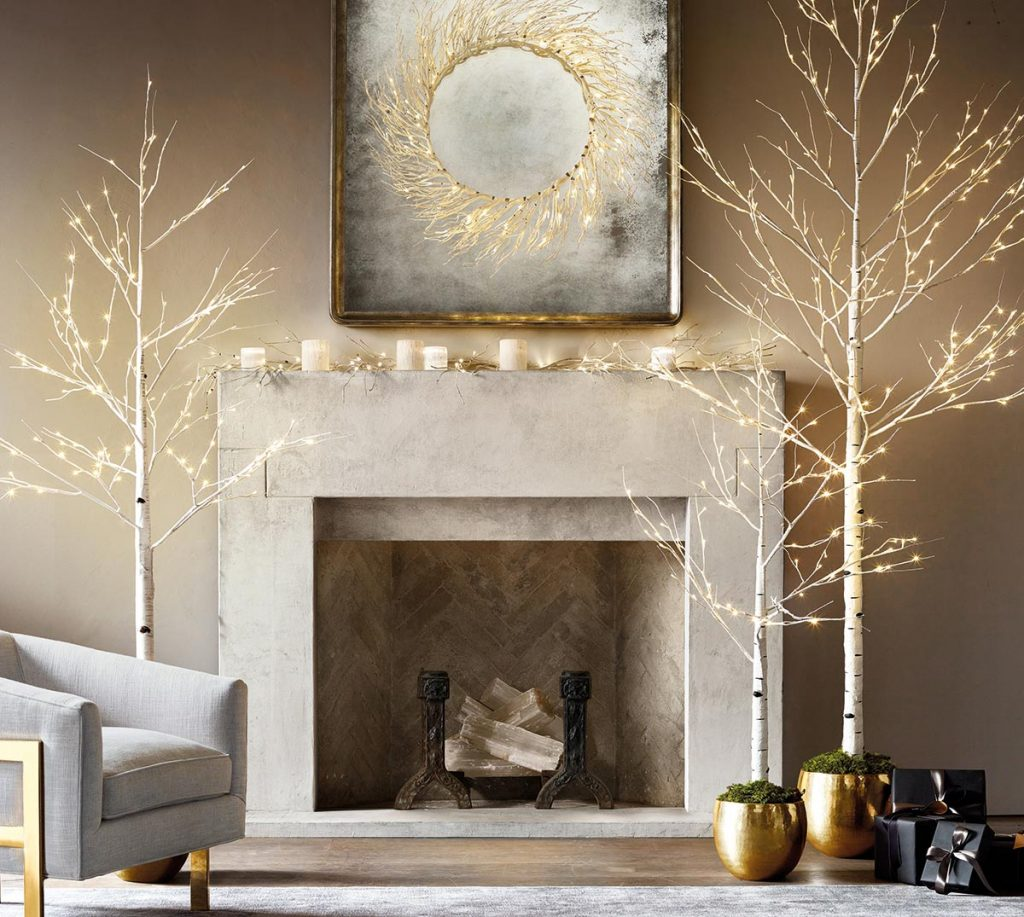 Restoration Hardware fireplace styling