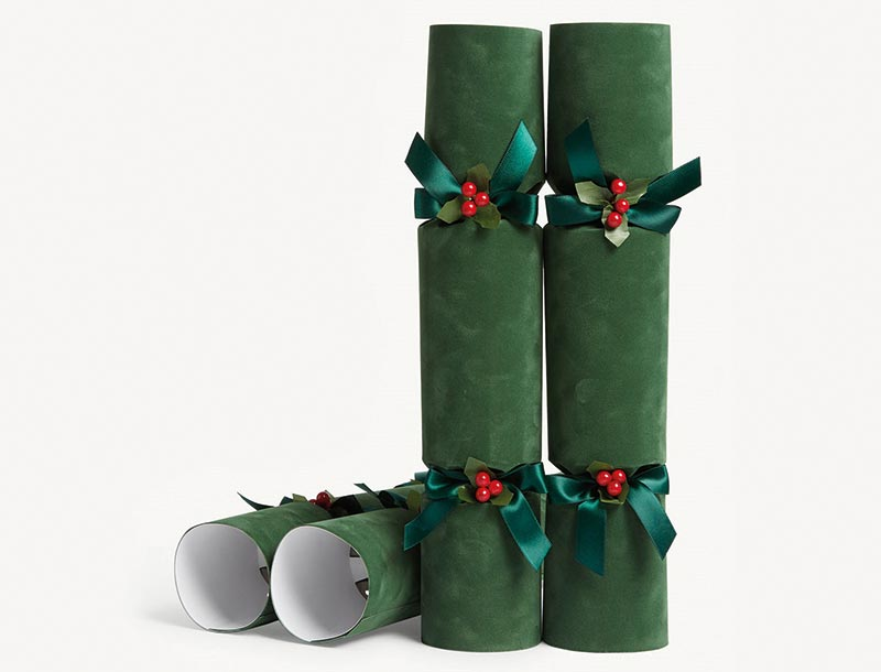 Green velvet luxury crackers, £70 for a set of 6, Selfridges