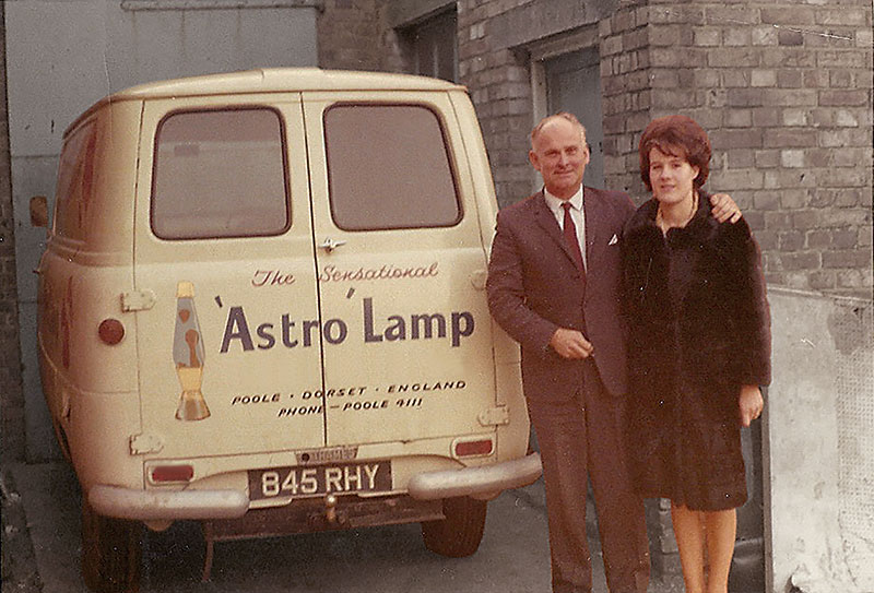 The lava lamp's inventor, Edward Craven-Walker, with his wife and business partner Christine. They started off by selling the lamps out of the back of this van