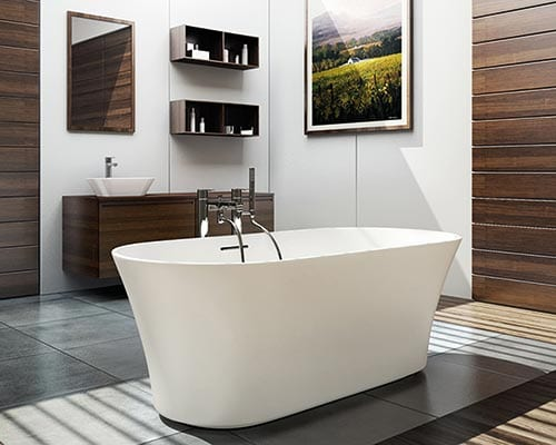 Freestanding bath in light room