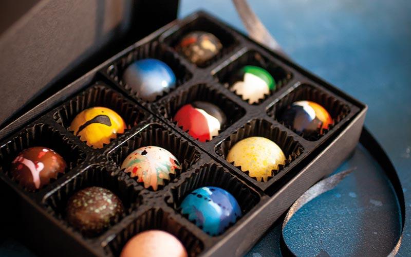 A selection of handmade chocolate bonbons