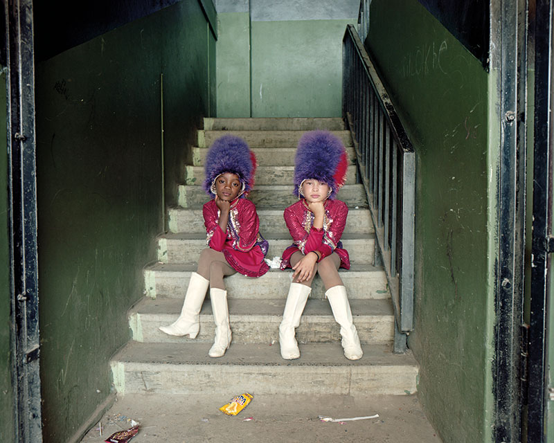 little girls on stair