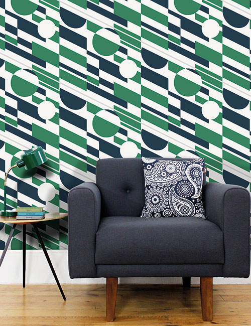 P.L.U.T.O. wallpaper in Coach Emerald and Silver, £55 per roll, Mini Moderns