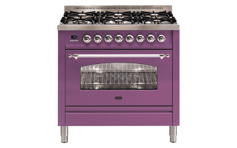 Milano 90cm Single 6 Burner in signal violet, approx £3,615, ILVE