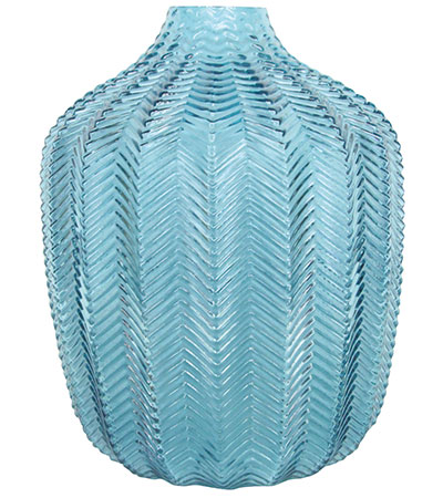 Glass chevron vase in blue, £21, Gisela Graham London