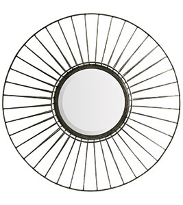Industrial round wire wall mirror, £64, The Farthing