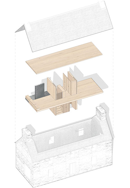 A 3-D diagram showing the series of oak boxes that make up the interior spaces at Kyle House
