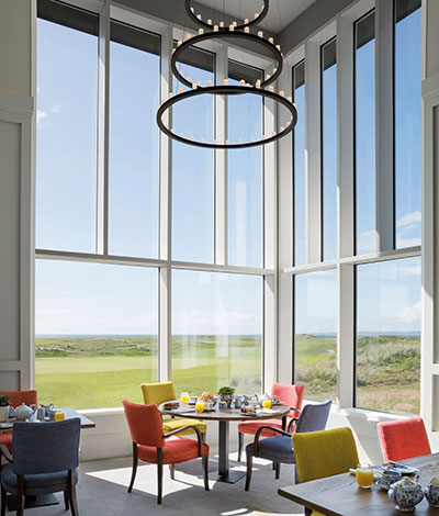 The hotel has been designed to focus guests' attention on the golf course, but the Chelsom Custom Galaxy ceiling pendant attracts admiring glances, too